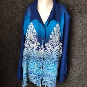 Plus size vintage beautiful blue blouse